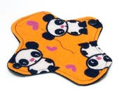 "6"" Reusable Cloth winged ULTRATHIN Pantyliner - Orange Panda  -Cotton flannel top"