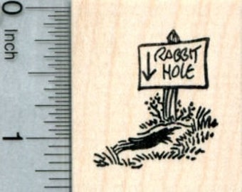 Rabbit Hole Rubber Stamp, Easter Series D32112 Wood Mounted