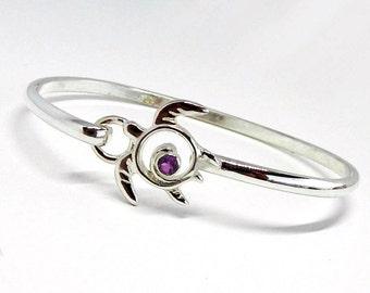 Amethyst Sea Turtle Bracelet - Sterling Silver Gemstone Bangle - Silver Hook Bracelet - February Birthstone - Amethyst Bracelet