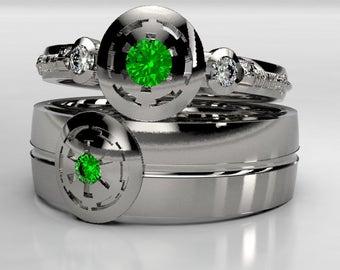 palladium star wars empirial emerald wedding ring set matching wedding ring set in silver gold or palladium darth vader size 10 ring - Star Wars Wedding Ring