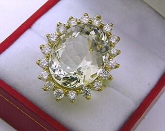AAA White Aquamarine Goshenite 15 carats Blue Green 18 x 14mm in 18K yellow gold Diamond halo ring with 1.75 carats of Diamonds  1352