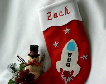Rocketship Personalized Christmas Stocking|Kids Outer Space Personalized Christmas Stocking|Christmas Decor|Traditional Red Felt Stocking