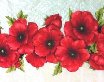 "Large Stunning Poppy Spray Iron on Fabric Applique - 14"" x 6.5"" - FREE U.S. Shipping"