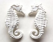 Valentines Sale White pair of seahorse vintage plastic the life aquatic pin brooch