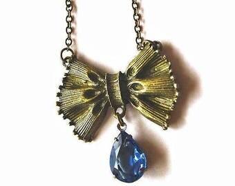 Clearance Sale Blue stone drop bow pendant necklace
