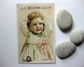Vintage Victorian Thread Trade Card, Clarks Mile End Spool Cotton, Baby Tied up with Thread, Unusual