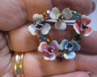 Austrian Flower Brooch Triangle Shape Enamel Flowers and Multi Colored  Rhinestones