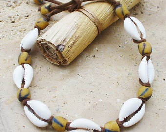 Cowrie Shell and African Trade Powder Bead Anklet - Unisex