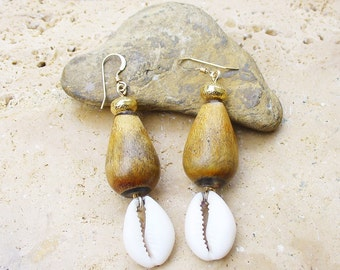 Buffalo Horn Bead and Cowrie Shell Earrings with Gold Filled Textured Beads and Gold Filled French Ear Wires - Beautiful