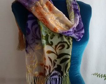 Purple Ivory Moss Green Velvet Fringed Scarf Devore Burn-out 10x53 Purple Sedge DevSm1