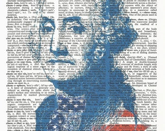 George Washington-Red white Blue -One of a kind- Vintage Dictionary Art Print--Fits 8x10 Mat or Frame