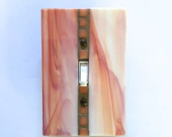 Orange Switch Plate, Sherbet Switchplate, Glass Wall Plate, Light Switch Cover, Light Switchplate, Stained Glass Art, Single Toggle, 8459