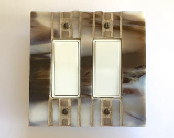 Brown Light Switch Plate, Decora Light Switch Cover, Decorative Switch Plate Cover, Mosaic Switch Plate, Switch Plates, Outlet Cover, 8630