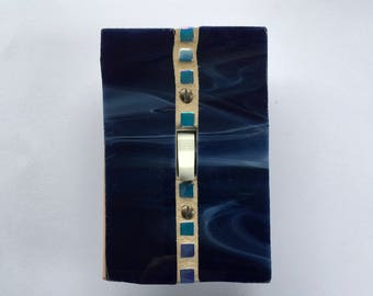 Dark Blue Light Switch Cover, Decorative Switch Plate Covers, Glass Light Switch Plate, Stained Glass Mosaic, Navy Glass, Wall Plate, 8615