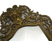 Brass Filigree Wall Mirror - Bacchus Head, 1900s