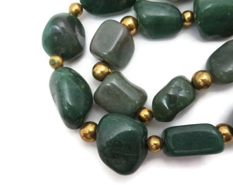 Green Aventurine Beaded Necklace - Tumbled Stone Nuggets