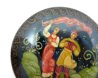 Vintage Hand Painted Brooch - Russian, Lacquer, Dancing Lady, Couple