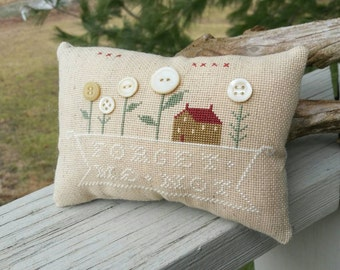 Completed Cross Stitch Pillow Forget Me Not Primitive Home Decor