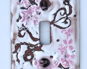 Free Shipping One of a Kind Heart Sgraffito Enameled Light Switch Plate Cover