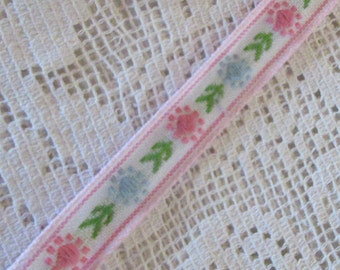 2 Yards Vintage Japan Floral Trim Narrow 7/16th Inch Cotton Poly Jacquard Ribbon White Green Pink & Blue VT 162
