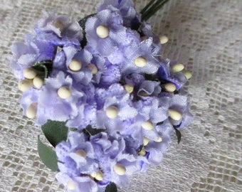 Fabric Forget Me Not Millinery Flowers From Austria 1 Bundle Lavender A-58LAV