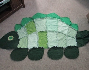 Green Dinosaur Rag Quilt
