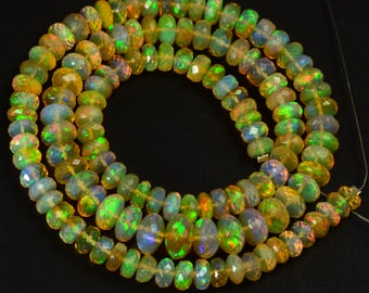 """5mm-8.6mm Fine Ethiopian Welo Opal Large Faceted Rondelle Beads 17.5"""" Strand"""