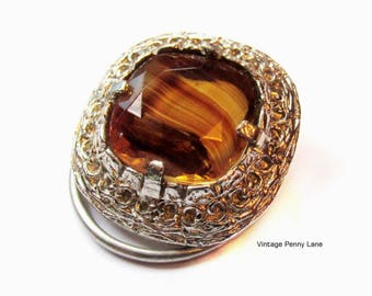 Vintage Silver / Art Glass Scarf Clip, Amber Swirl