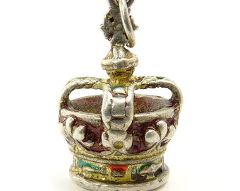 ON HOLD Vintage Sterling Silver & Enamel Kings Crown Charm