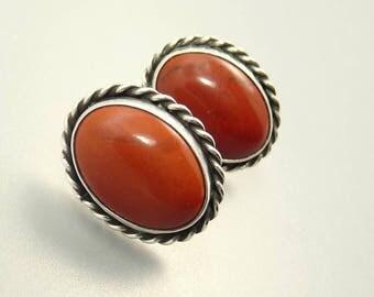 Sterling 925 Red Jasper Pierced Earrings Southwestern Style