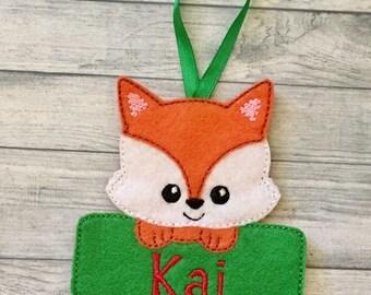 Chubby fox  personalized felt Christmas ornament