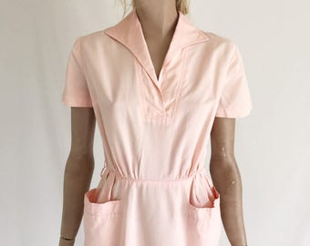 Vintage 40's Cotton Day Dress. Size X Small