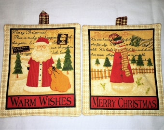 COUNTRY CHRISTMAS POTHOLDER Set of 2 for kitchen, cooking, housewarming, birthday, holiday, gifts