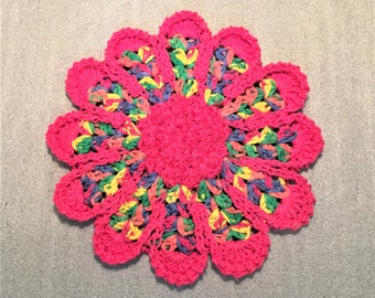 PINK RAINBOW Scrubby FLOWER Dish Cloth, dish rag,  for kitchen, washing dishes, housewarming, birthday, gifts, holiday