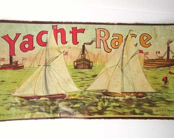 Antique Victorian Game Board and Cover Posters c 1890, Original Yacht Race Game Board, Poster, Prints for the Wall, Yacht Race Graphics