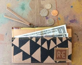 zip wallet • coin purse zipper wallet • black geometric print - hand printed - slim wallet - cash and card - fall style • vukani