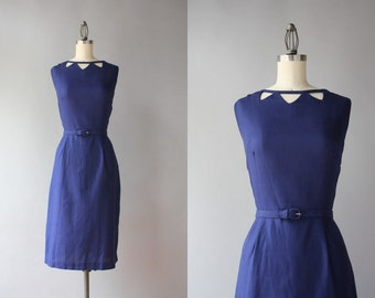 Vintage 1950s Dress / 50s 60s Cutout Cotton Wiggle Dress / 1960s Navy Blue Sleeveless Fitted Dress s/m small medium