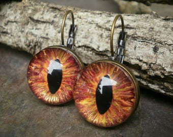 Gothic Steampunk  Flame Eye Lever Back Earrings in Antique Bronze