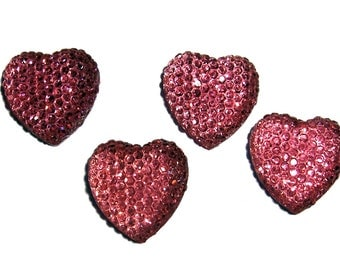Faceted Pink color heart cabochon 17mm  4pcs