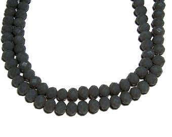 4x6mm Chinese faceted glass crystal beads in Slate Gray 70pcs