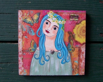 Fairy Fairy Angel Girl Painting original, one of a kind Mixed media Encaustic FREE SHIPPING
