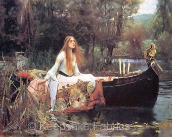 Waterhouse Lady of Shalott In Boat Reproduction Fabric Quilt Block Free Shipping World Wide