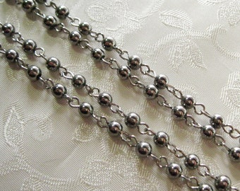 Charcoal Gray Gunmetal Black Glass Bead 4mm Beaded Rosary Chain Silver 993