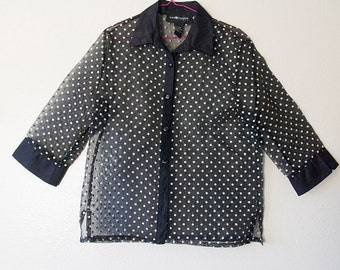 DITA // Vintage 90s See Through Blouse Womens Large Sheer Polka Dot Button Up Shirt 1990s Goth Mod Pin Up Girl Lingerie Sexy