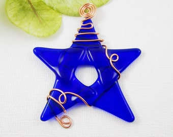 Glass Star Ornament Suncatcher - Cobalt Blue Fused Glass Star - Christmas Star Wrapped with Copper Wire