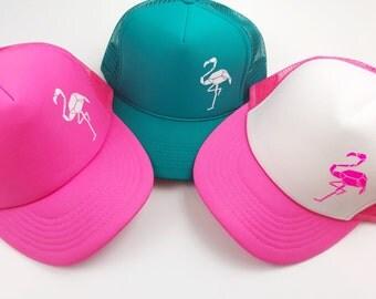 Neon Pink Trucker Hat, Flamingo Hat, Flamingo, Snapback, Summer Hat, Tropical, Adjustable Hat, Neon, Turquoise Hat, Hot Pink Hat
