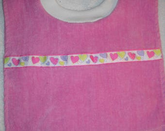Terry Cloth Towel Baby Bib Pink with Hearts Trim Handmade