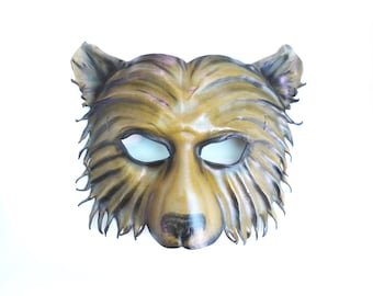 Leather Bear Mask entirely handcrafted, lightweight and one of a kind Teonova