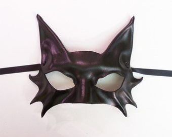 Black Cat Leather Mask costume Mardi Gras masquerade Smaller Adult Size