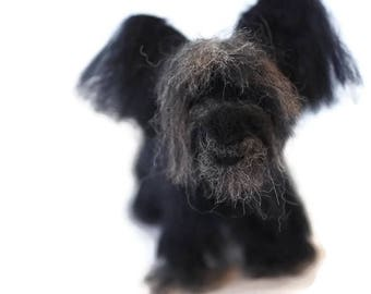 Customised Sky Terrier Sculpture. Miniature dog replica, Small sizes needle felted personalised dog art made to order
